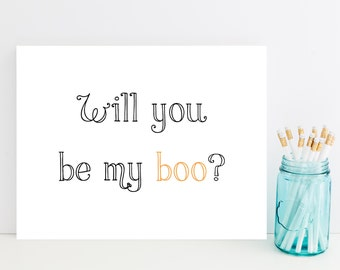 Will You Be My Boo Halloween Card - Romantic Halloween Card - Cute, Funny Halloween Card