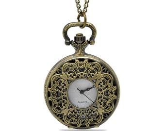 1pcs/ 45mm ,Round Flower pocket watch Necklace Chain,Necklace Pendant,craft supply BM-21