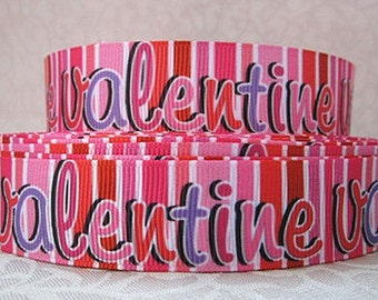 7/8 inch Valentine over Vertical Stripes pink red   -  Valentine's day Love Printed Grosgrain Ribbon for Hair Bow