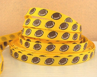 3/8 inch Football balls with glitter on Yellow Sports Printed Grosgrain Ribbon for Hair Bow