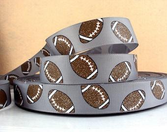 7/8 inch Glitter Footballs / Football on GREY / GRAY SPORTS Printed Grosgrain Ribbon for Hair Bow