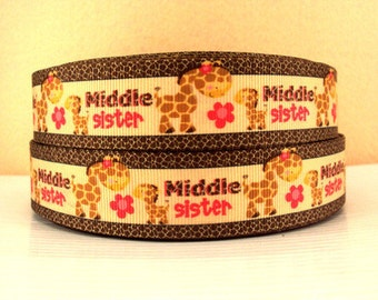 1 inch Middle Sister - Cute Giraffes - Printed Grosgrain Ribbon for Hair Bow