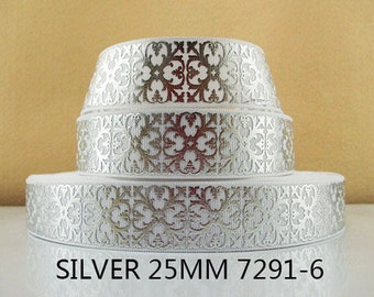 1 inch SILVER FOIL SQUARE Filigree on White - Wedding - Printed Grosgrain Ribbon for Hair Bow