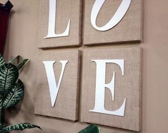 Burlap LOVE Sign
