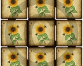 Primitive Printable Sunflower Hang Tags - Spring Flower - Instant Digital Download - JPEG File