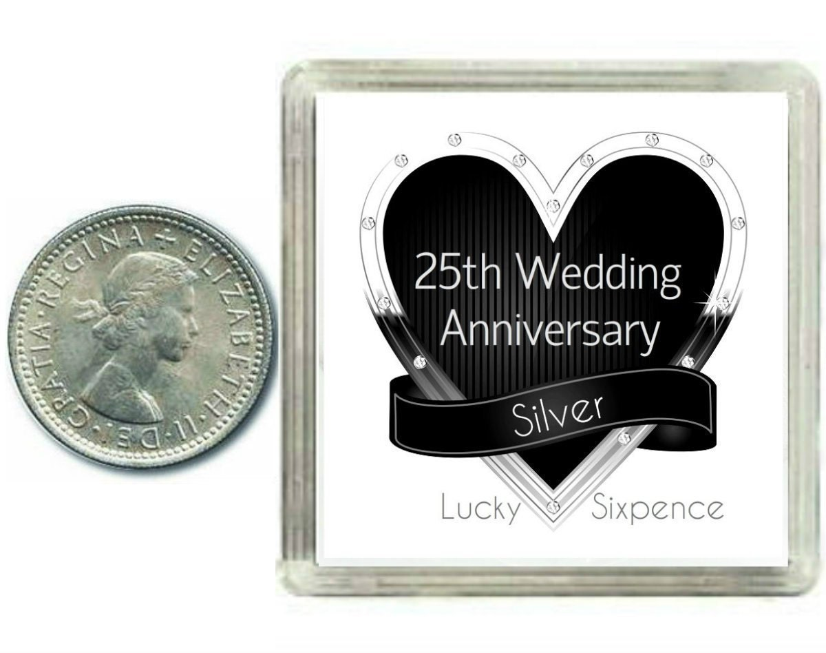Silver Wedding Gift: Lucky Silver Sixpence Coin. 25th Silver Wedding Anniversary
