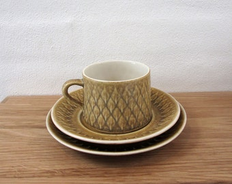 Kronjyden / Bing and Grondahl / Nissen Denmark / Relief by Quistgaard / coffee cup & saucer + plate /Danish design from the 1960s