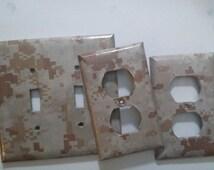 USMC Light Switch Cover, Camo Wall Plate, Marines Decor, Digital Camo Decor, Military Decor, USMC Home, Marine Corps Room Military wall art