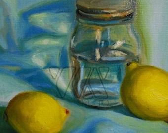Mason Jar and Lemons - Original Painting. Art, mason jar, kitchen, gift idea, home, decoration, still life, wall art, fruit, lemon, oil