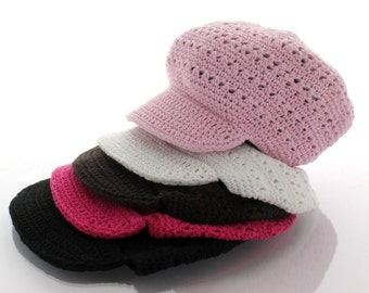 Newsboy Crochet Hat - Child - Choose Color