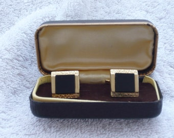 1960s Cuff Links - Square Black and Gilt