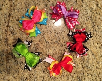 Boutique style bow girls hair clips  in various colors