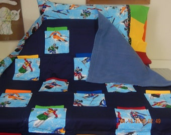 Quilt Set - Snow Skiers-CLEARANCE