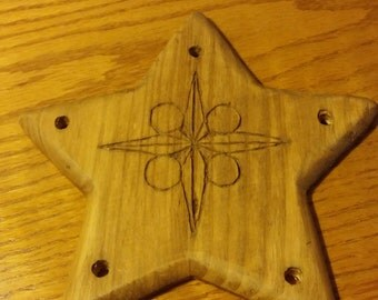 Wood Carving Star Wall Hanging