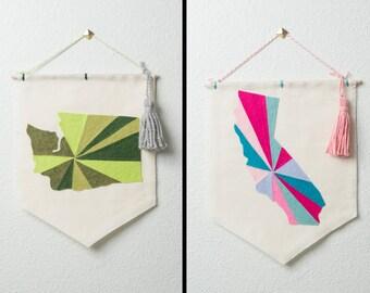 CUSTOMIZABLE wall hanging / banner -- state // custom state banner, custom wall banner, custom dorm wall decor, home sweet home, custom gift