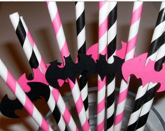 10 Batgirl Straws pink and black paper straws (948S)