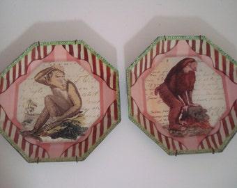 John Derian Monkey Plates Pink Octagonal Decoupage - Set of 2