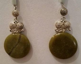 Hemimophorite and Malachite dangle earrings