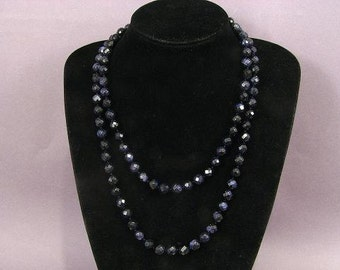 """Necklace Blue Gold Stone 45"""" 10mm Facet Round Beads Many Styles NSBG5505"""