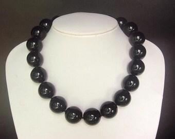 Necklace Black Onyx Huge 20mm Round Beads 925 NSNX0521