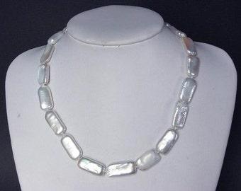 Necklace White Rectangles Biwa Pearls NHBW0385