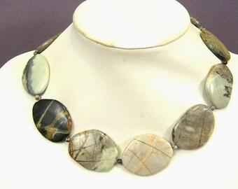 Necklace Silver Leaf Jasper 40mm Smooth Stones 925 NSSL5570