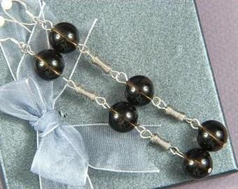 """Earrings 3X Smokey Quartz AB 4"""" 12mm round Beads 925 ESSQ1347"""