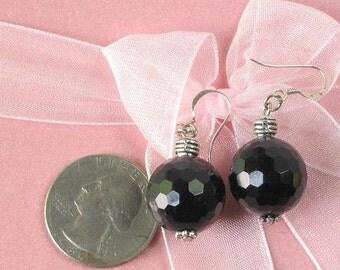 Earrings Black Onyx LArge 16mm 128 facet Round Bead 925 ESNX0105