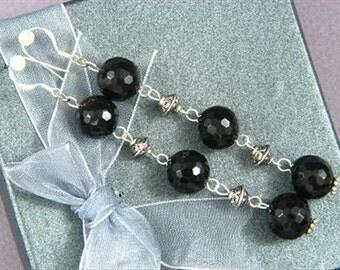 "Earrings 3X Black Onyx 3.5"" 12mm Facet Round Beads 925 ESNX1360"