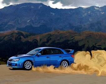 Blue Subaru WRX STi Drift Print