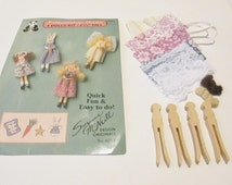 Easter Craft Supplies, Craft Supply Destash, DIY Doll Kit, Clothes Pin Doll Kit, Friendship Doll, Easter Basket Stuffers, Gift Basket Filler