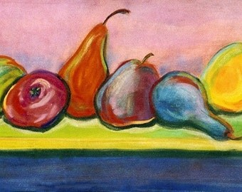 Pears of Color, pears, still life, multicolor, 18.5 x 8, original art, pastel painting