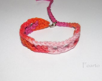 Multicolored friendship bracelet friend bracelet pink - orange crochet cotton bracelet adjustable bracelet gift for friends (CB-12)