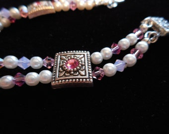 Swarovski pink crystal and white pearl silver tone/plate double strand bracelet handmade smaller size