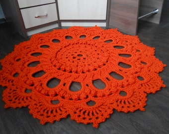 "Crocheted rug ""Magnificent"" orange"