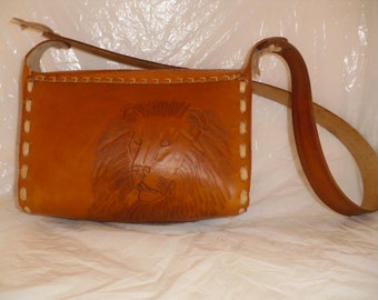 African Safari hand tooled leather purse with removable liner Made in Montana