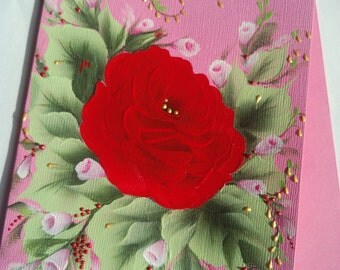 Birthday card. Love card. Card for any occasion. Red roses on pink.