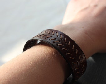 Brown Stitched Leather Cuff Bracelet