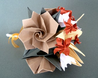 Bridal Bouquet - eco friendly made with recycled paper - origami flowers - orange, brown, white