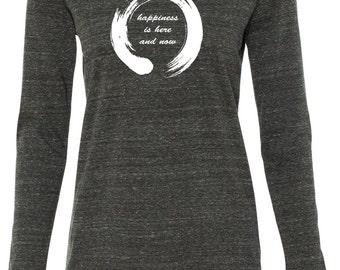Ladies Zen Happiness Lightweight Yoga Hoodie Tee Shirt - W3101-ENHAP