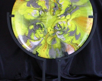 """Fused Glass Panel 12"""" Round """"Synergy"""" with Black Metal Stand"""