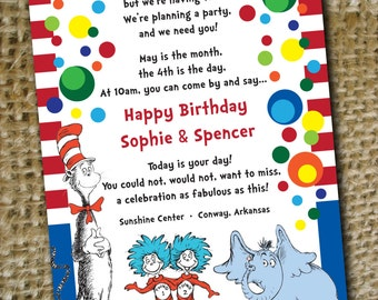 5x7 Dr. Seuss Digital (Printable) Twins Birthday Invite