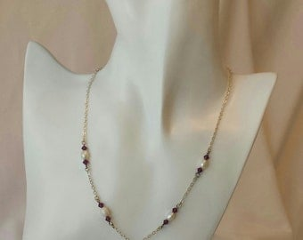 Sterling Silver chain with Pearl and Australian Crystal drop Y necklace with matching earrings