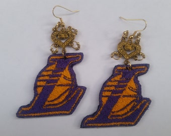 Lakers embroidered earrings