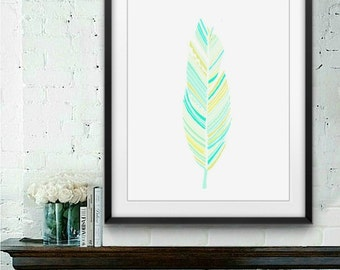 Blue Green Gold Feather Printable Art Poster 8x10 Instant Download