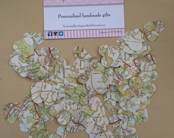 100 Heart Map Confetti (Weddings, Parties)