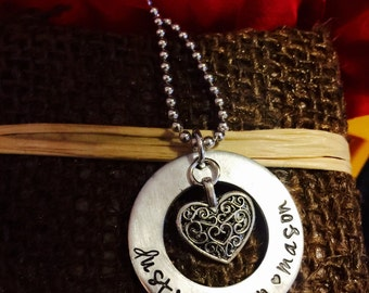 Hand stamped children grandchildren   mother grandmother gift or other wording of choice