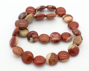 16 inches strand of Cappuccino Jasper coin beads 15 mm