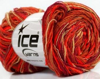Flamme Color Red Orange Burgundy Tan Ice Yarn, Thick and Thin Yarn, Novelty Yarn, Art Blend Yarn, 37905