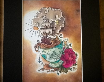 Storm in a teacup art print, teacup, tattoo inspired, watercolour, painting, nautical, ship design